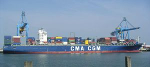 The 300-meter-long container ship CMA CGM Balzac