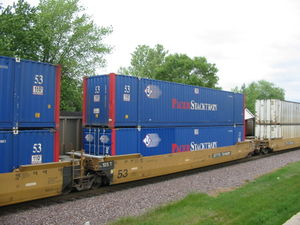 "A portion of a ""double stack"" container train operated by Pacer Stacktrain"