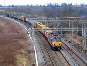 A container freight train in Britain
